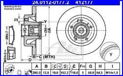 2x ATE Disque de frein Arrière 280mm Ø pour RENAULT TRAFIC OPEL 24.0112-0177.2