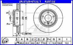 2x ATE Disques de Frein Avant Ventilé 305mm Pour RENAULT TRAFIC 24.0128-0132.1